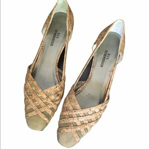Vintage Gold-flake Cork Mesh Square Toe Heels